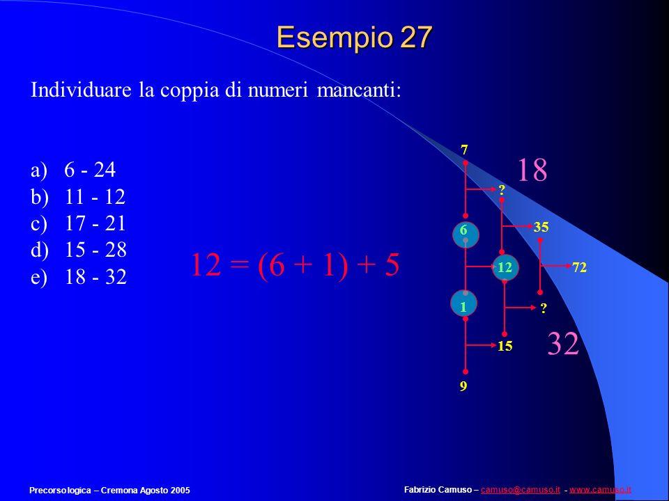 Esempio 27Individuare la coppia di numeri mancanti: 6 - 24. 11 - 12. 17 - 21. 15 - 28. 18 - 32. 6. 7.