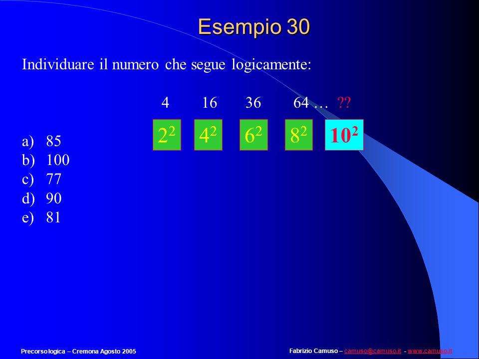 Esempio 30 Individuare il numero che segue logicamente: 4 16 36 64 … 85. 100.