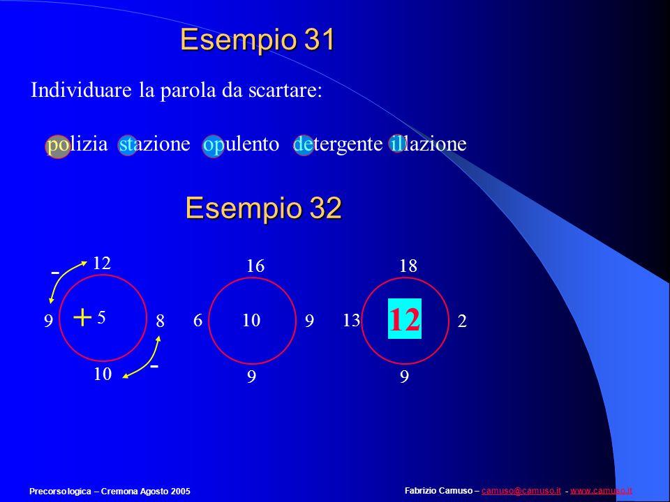 + 12 Esempio 31 Esempio 32 - - Individuare la parola da scartare: