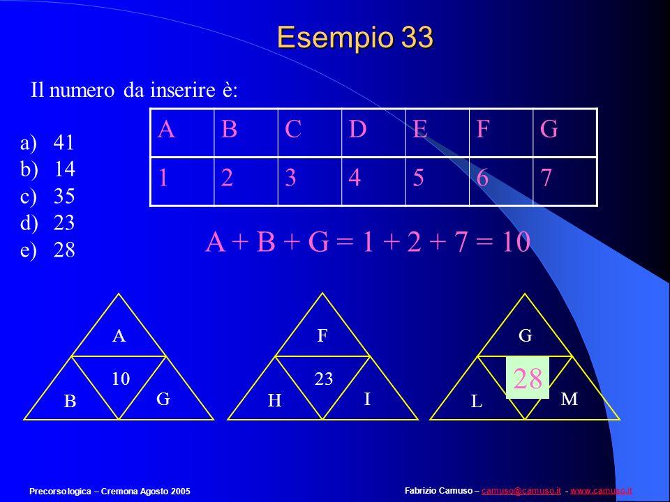 Esempio 33 A + B + G = 1 + 2 + 7 = 10 28 A B C D E F G 1 2 3 4 5 6 7