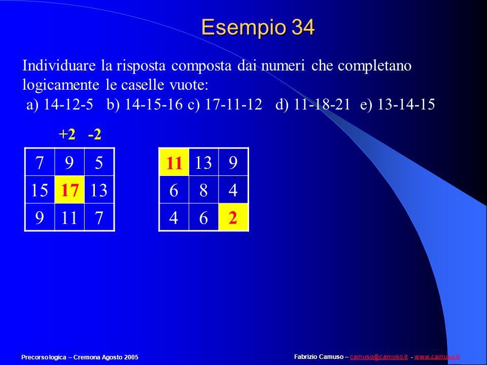Esempio 34 Individuare la risposta composta dai numeri che completano logicamente le caselle vuote: