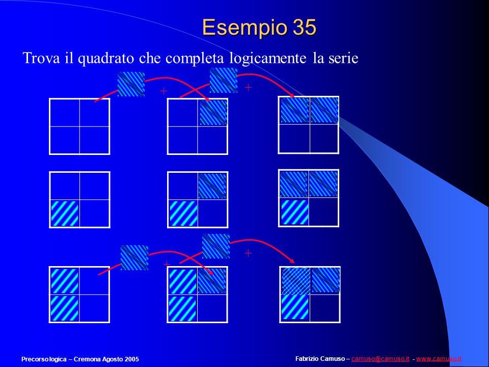 Esempio 35 Trova il quadrato che completa logicamente la serie + + +