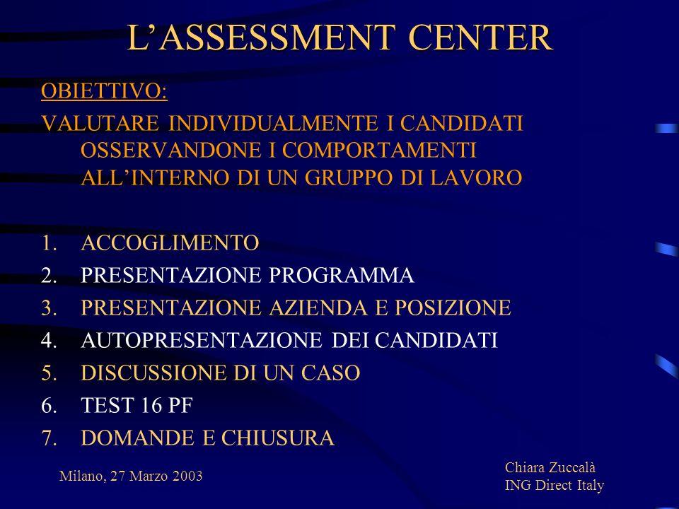 L'ASSESSMENT CENTER OBIETTIVO: