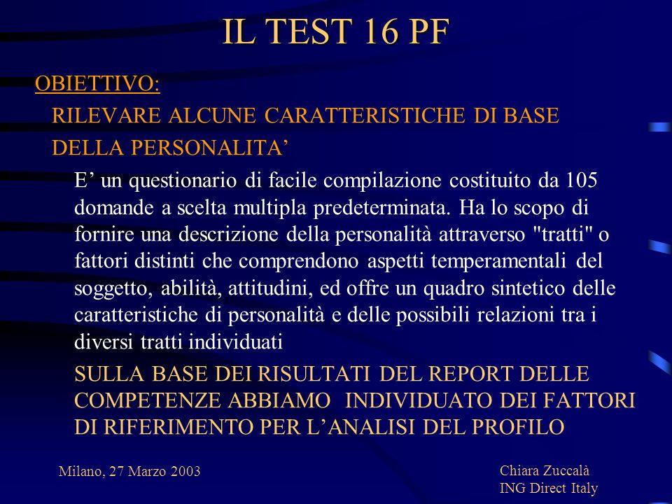 IL TEST 16 PF OBIETTIVO: RILEVARE ALCUNE CARATTERISTICHE DI BASE