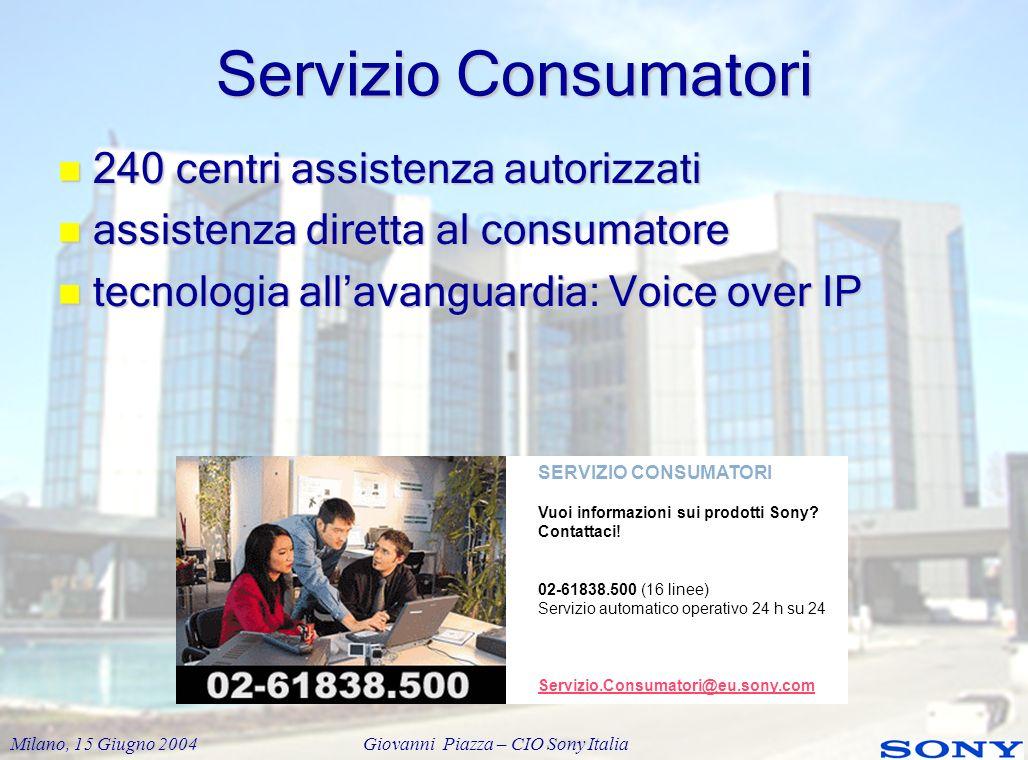 Servizio Consumatori 240 centri assistenza autorizzati