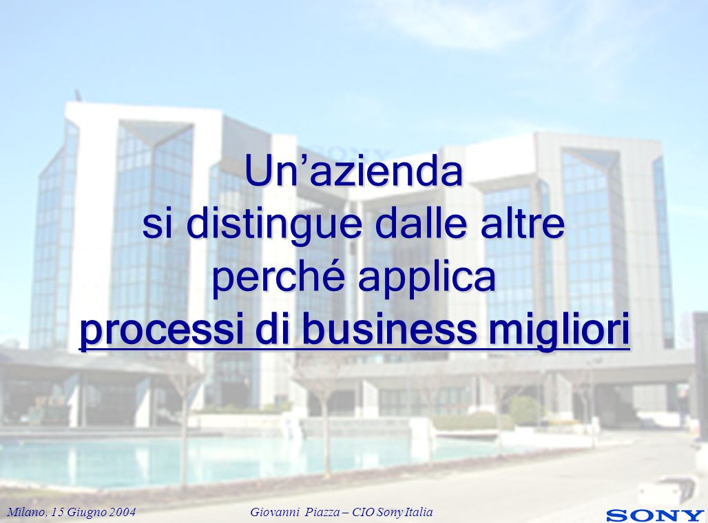 Un'azienda si distingue dalle altre perché applica processi di business migliori