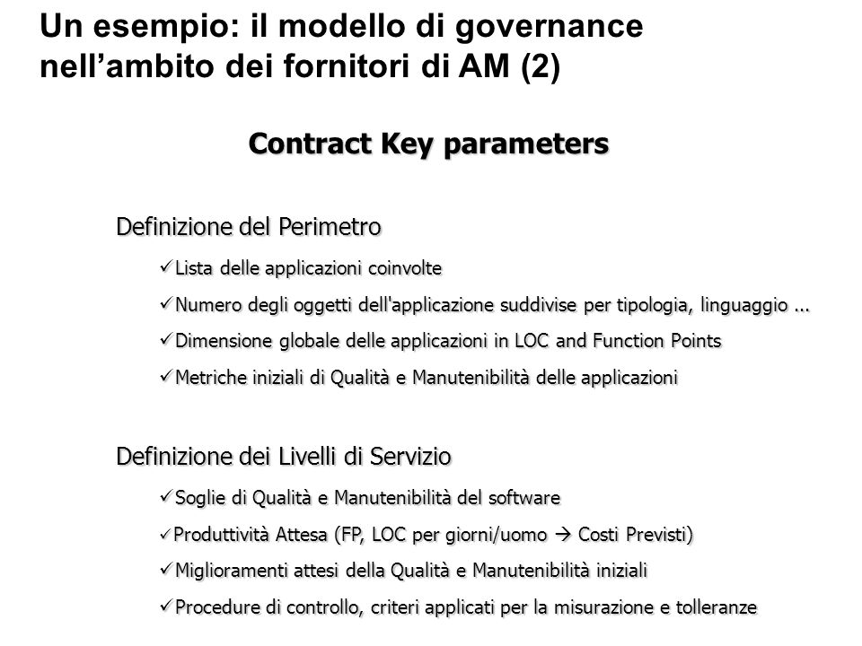Contract Key parameters