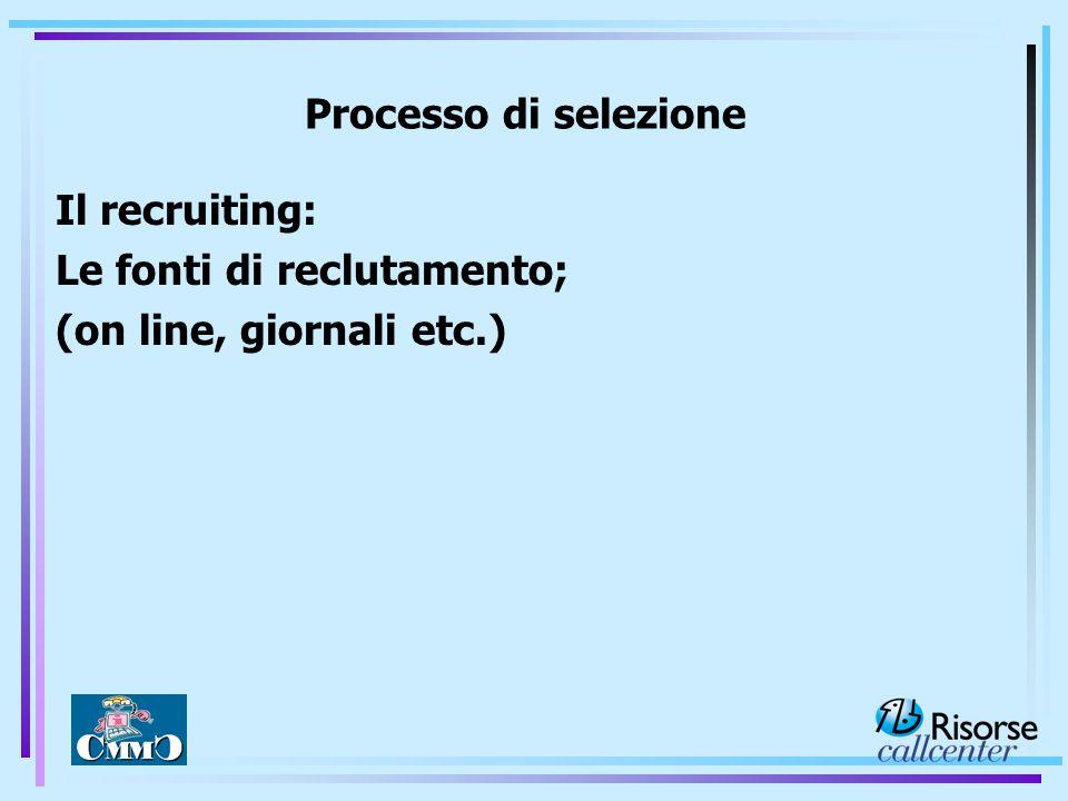 Processo di selezione Il recruiting: Le fonti di reclutamento; (on line, giornali etc.)