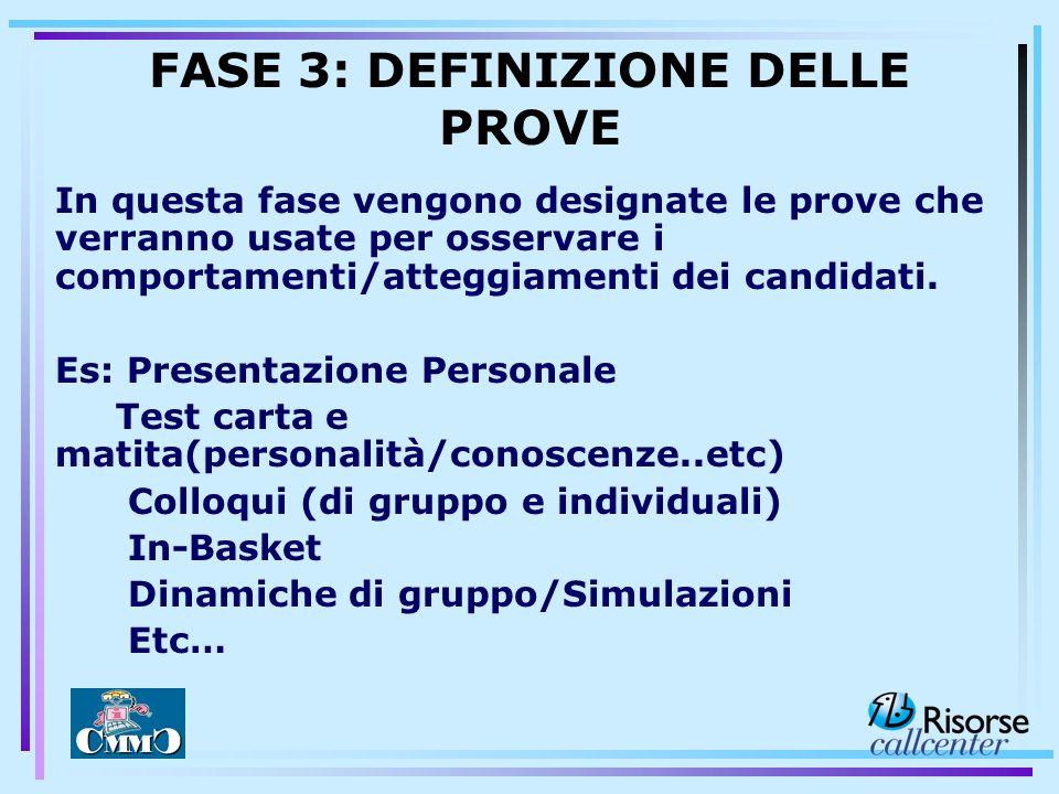 FASE 3: DEFINIZIONE DELLE PROVE