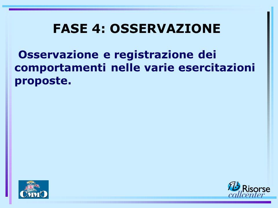 FASE 4: OSSERVAZIONE Osservazione e registrazione dei comportamenti nelle varie esercitazioni proposte.