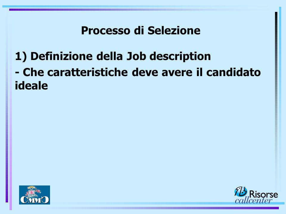 Processo di Selezione 1) Definizione della Job description.