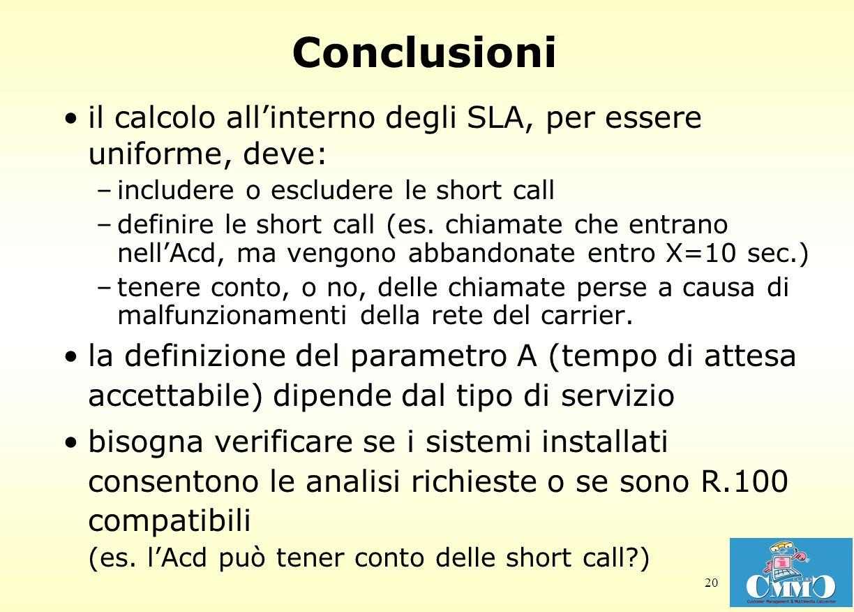 Conclusioni il calcolo all'interno degli SLA, per essere uniforme, deve: includere o escludere le short call.