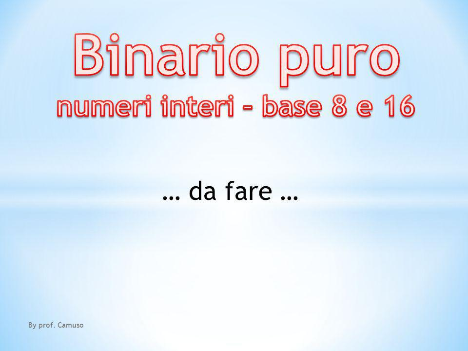 Binario puro numeri interi – base 8 e 16 … da fare … By prof. Camuso