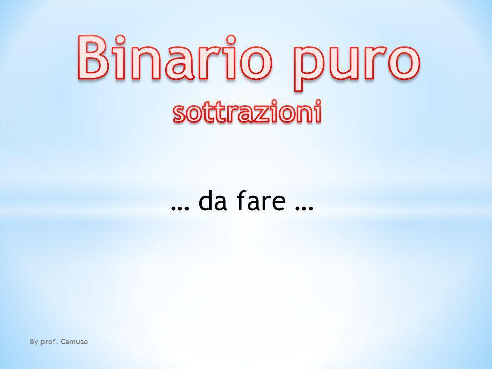 Binario puro sottrazioni … da fare … By prof. Camuso