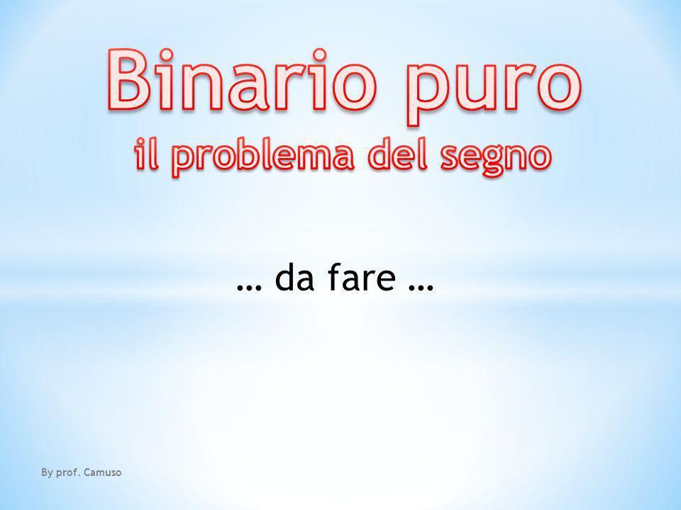 Binario puro il problema del segno … da fare … By prof. Camuso