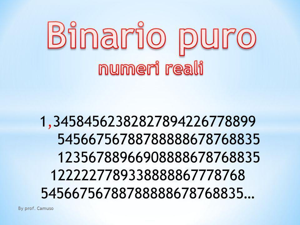 Binario puro numeri reali 1,34584562382827894226778899