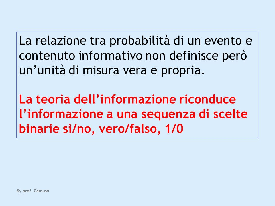 La relazione tra probabilità di un evento e contenuto informativo non definisce però un'unità di misura vera e propria.