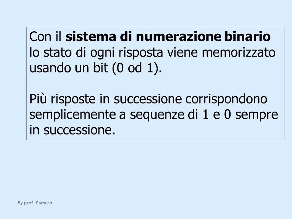 Con il sistema di numerazione binario lo stato di ogni risposta viene memorizzato usando un bit (0 od 1).