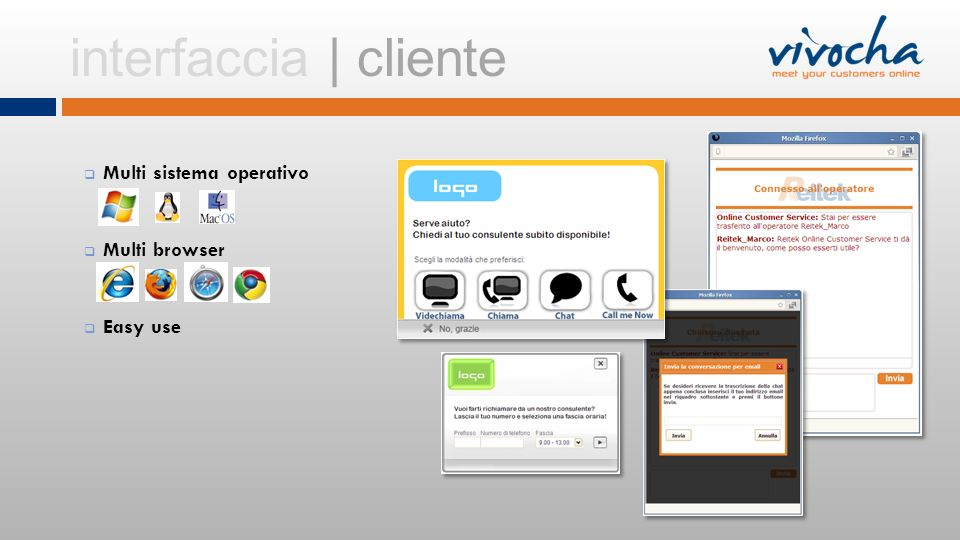 interfaccia | cliente Multi sistema operativo Multi browser Easy use