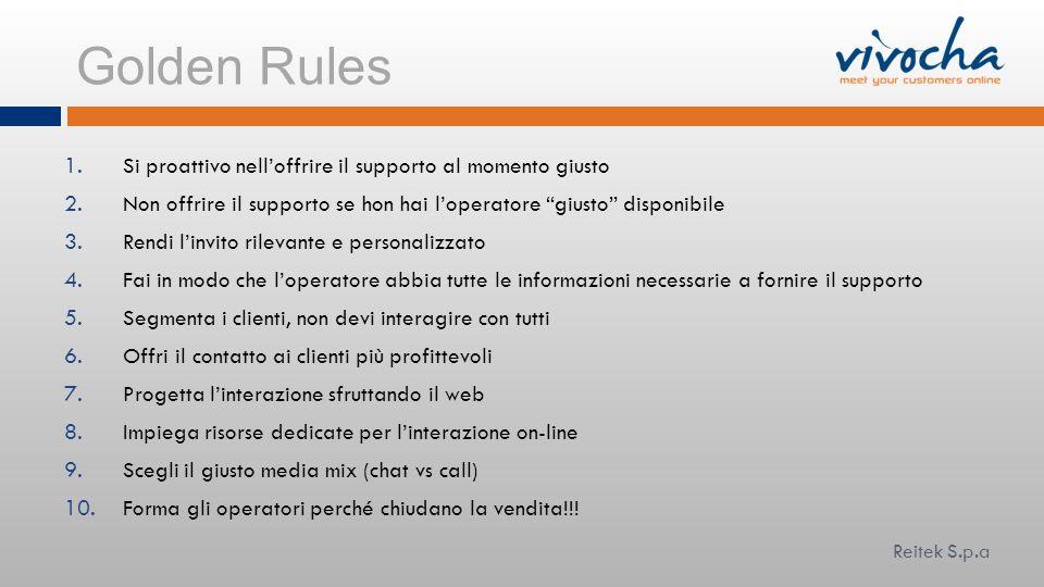 Golden Rules Si proattivo nell'offrire il supporto al momento giusto