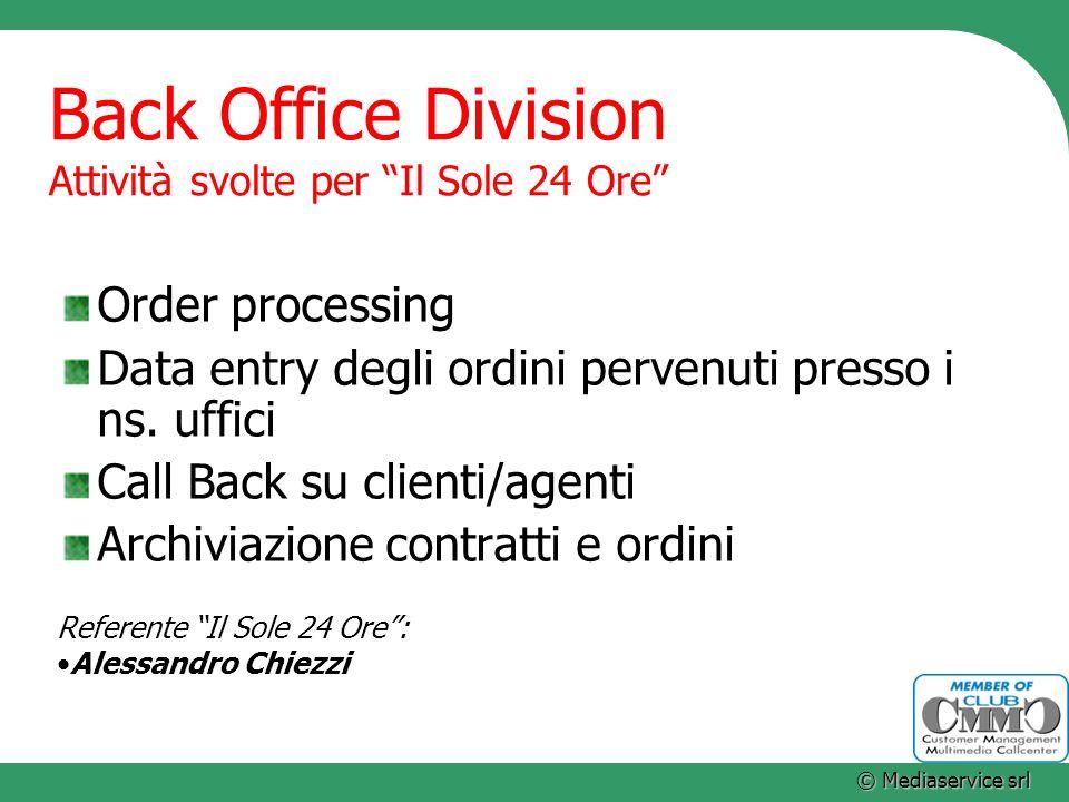 Back Office Division Attività svolte per Il Sole 24 Ore