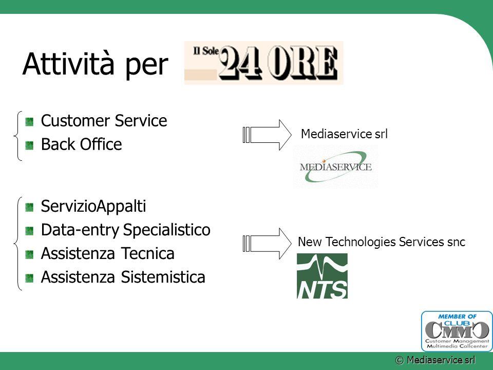 Attività per Customer Service Back Office ServizioAppalti