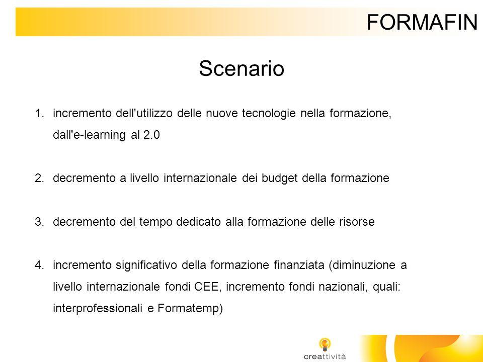 FORMAFIN Scenario. incremento dell utilizzo delle nuove tecnologie nella formazione, dall e-learning al 2.0.