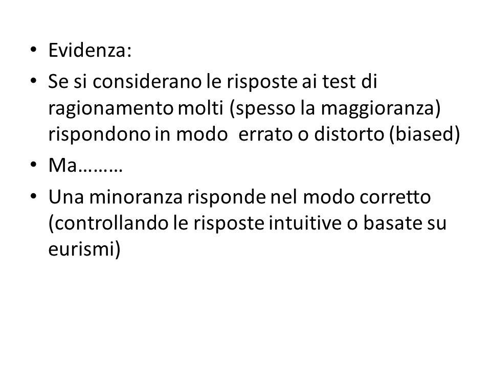 Evidenza: Se si considerano le risposte ai test di ragionamento molti (spesso la maggioranza) rispondono in modo errato o distorto (biased)