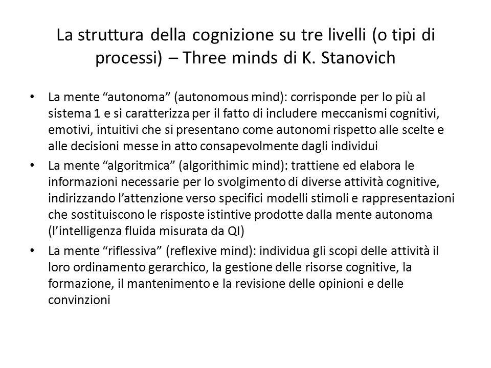 La struttura della cognizione su tre livelli (o tipi di processi) – Three minds di K. Stanovich