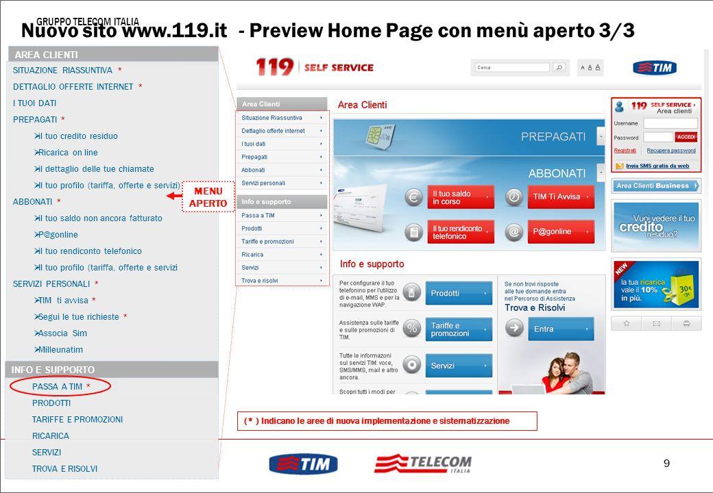 Nuovo sito www.119.it - Preview Home Page con menù aperto 3/3