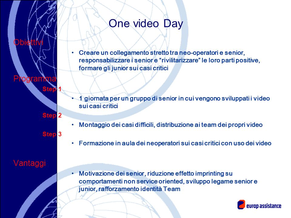 One video Day Obiettivi Programma Vantaggi