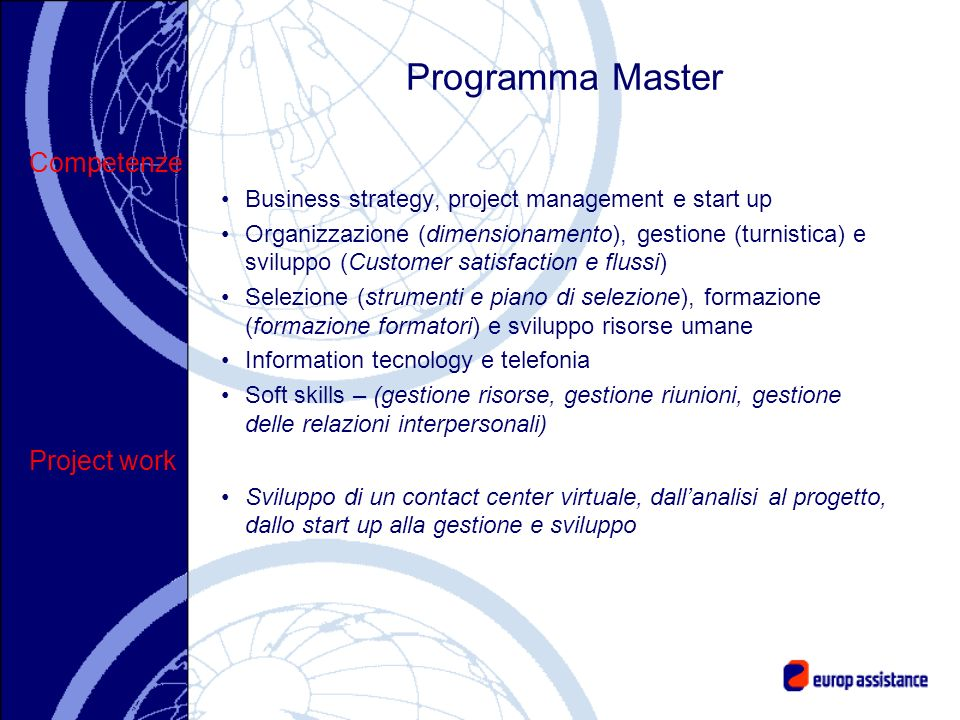 Programma Master Competenze Project work