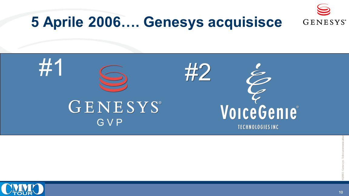 5 Aprile 2006…. Genesys acquisisce