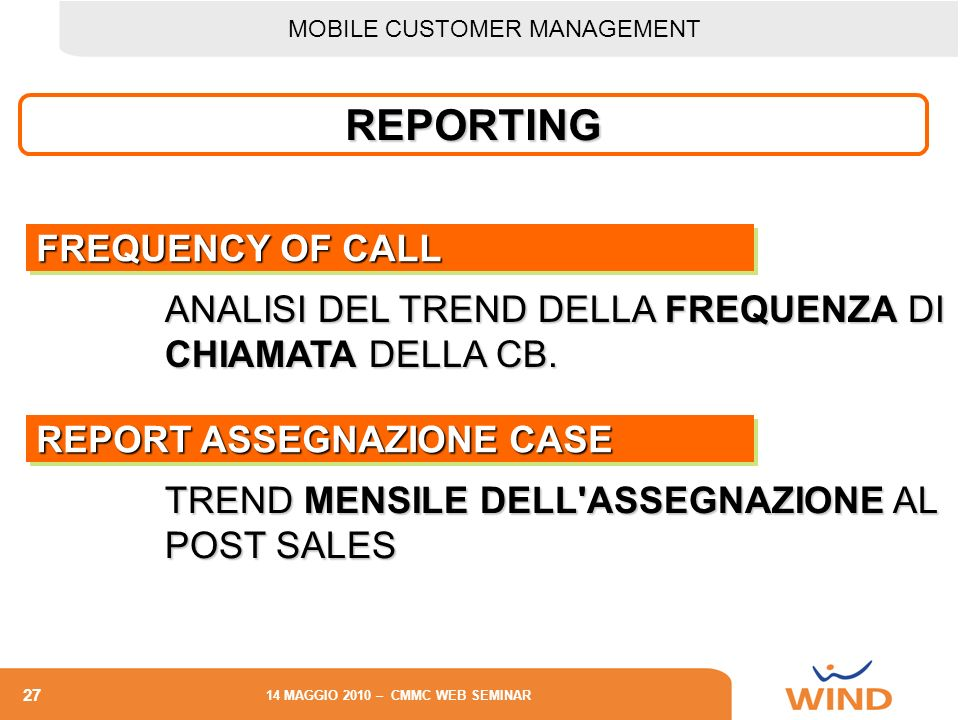 REPORTING FREQUENCY OF CALL