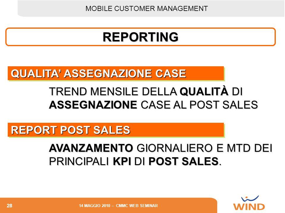 REPORTING QUALITA' ASSEGNAZIONE CASE