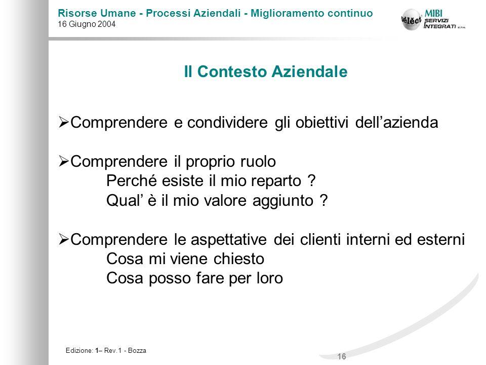 Il Contesto Aziendale Comprendere e condividere gli obiettivi dell'azienda. Comprendere il proprio ruolo.