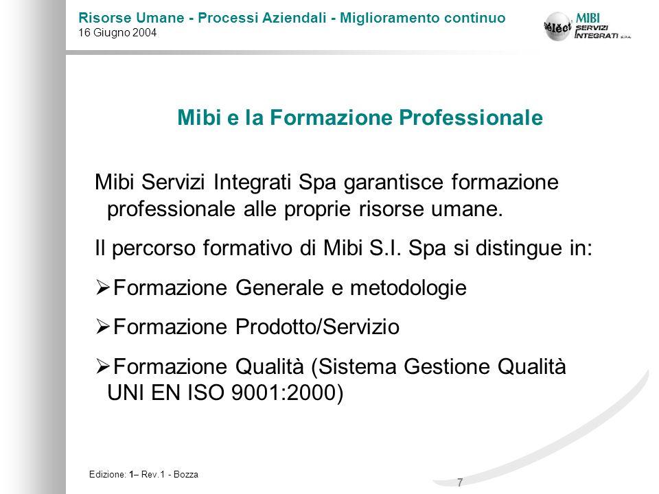 Mibi e la Formazione Professionale