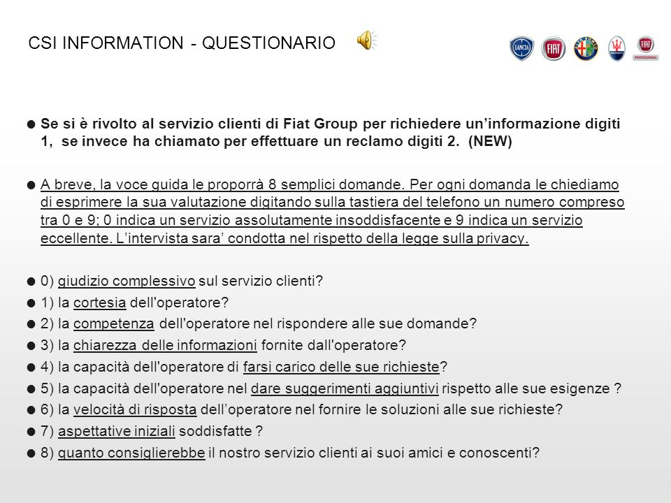 CSI INFORMATION - QUESTIONARIO