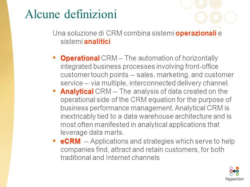 Alcune definizioni Una soluzione di CRM combina sistemi operazionali e sistemi analitici.