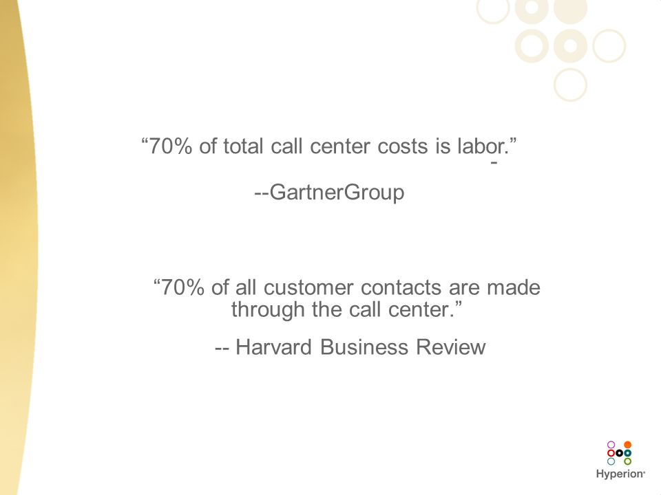 70% of total call center costs is labor. - --GartnerGroup