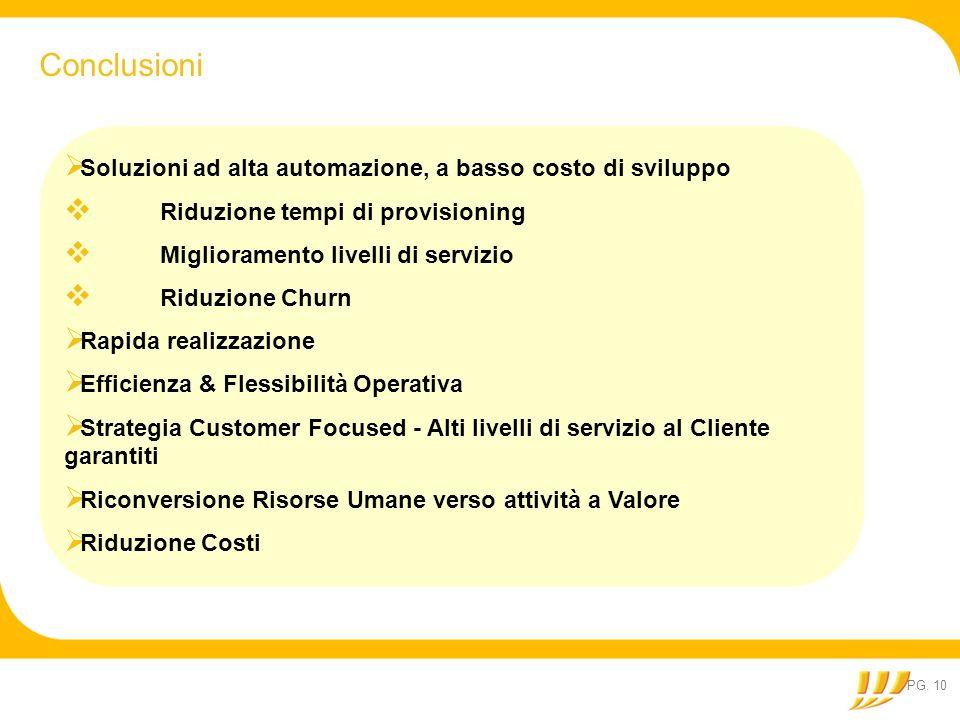 Conclusioni Soluzioni ad alta automazione, a basso costo di sviluppo