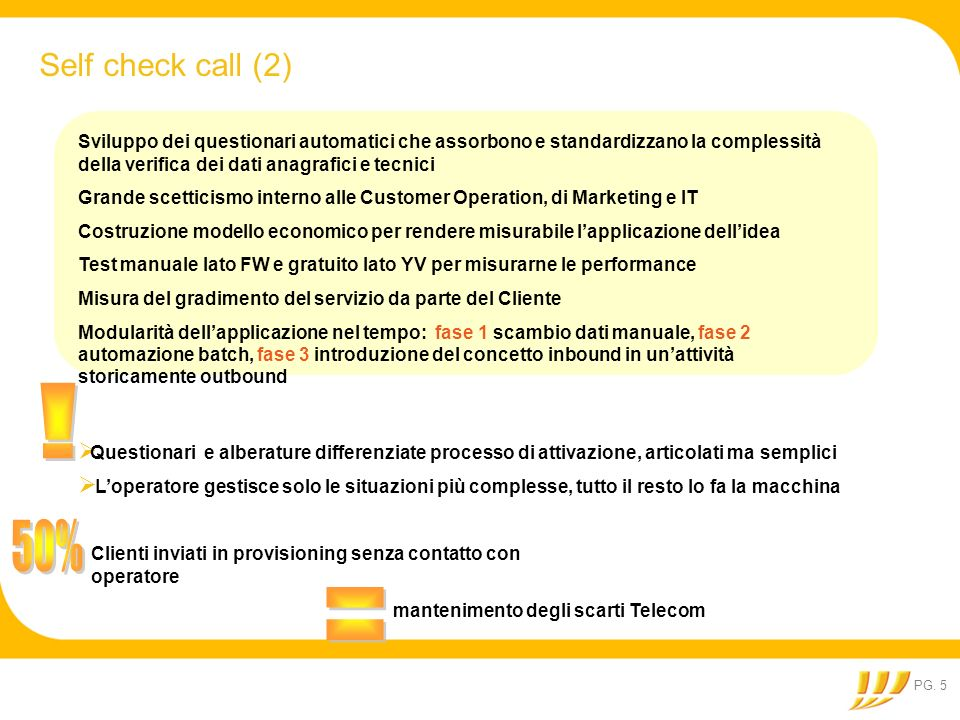 Self check call (2) Sviluppo dei questionari automatici che assorbono e standardizzano la complessità della verifica dei dati anagrafici e tecnici.