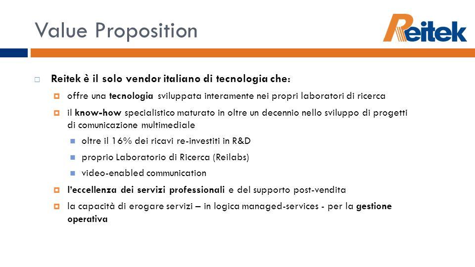 Value Proposition Reitek è il solo vendor italiano di tecnologia che:
