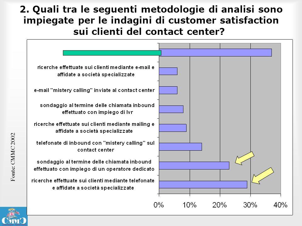 2. Quali tra le seguenti metodologie di analisi sono impiegate per le indagini di customer satisfaction sui clienti del contact center