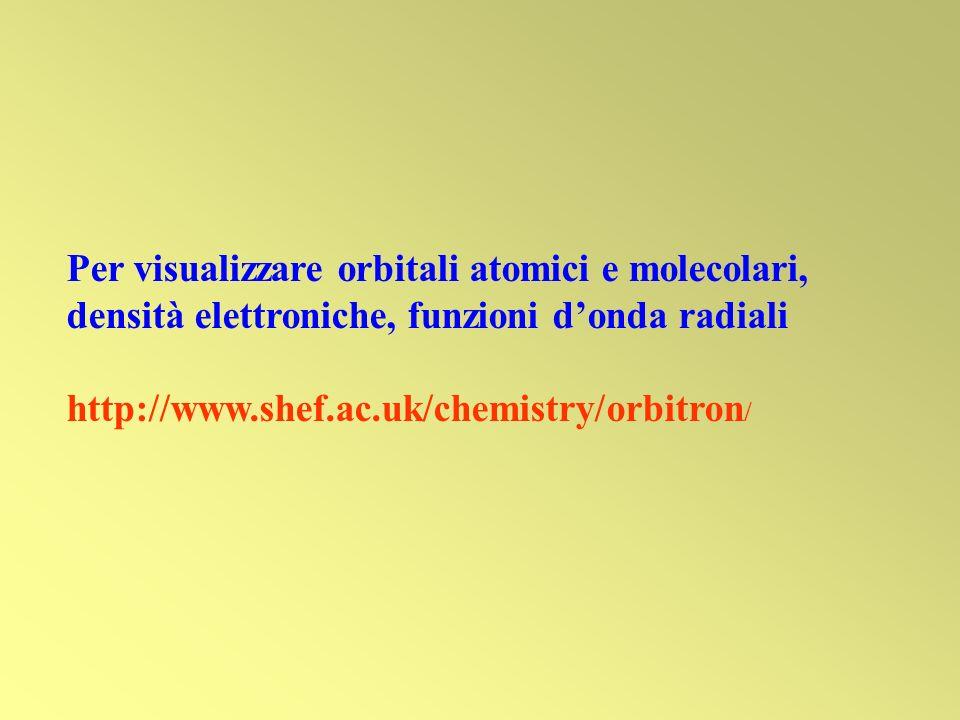 Per visualizzare orbitali atomici e molecolari, densità elettroniche, funzioni d'onda radiali