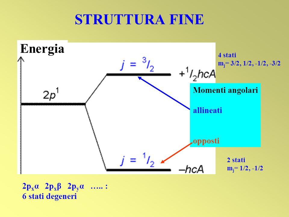 STRUTTURA FINE Energia Momenti angolari allineati opposti