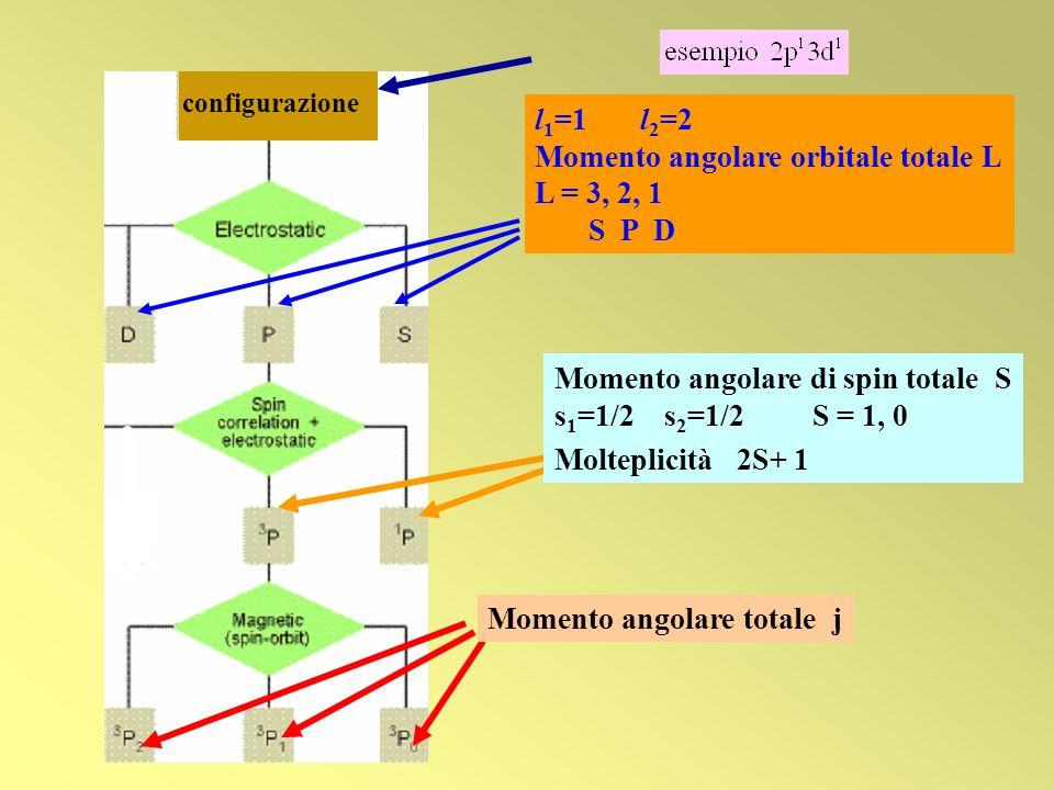 Momento angolare orbitale totale L L = 3, 2, 1 S P D