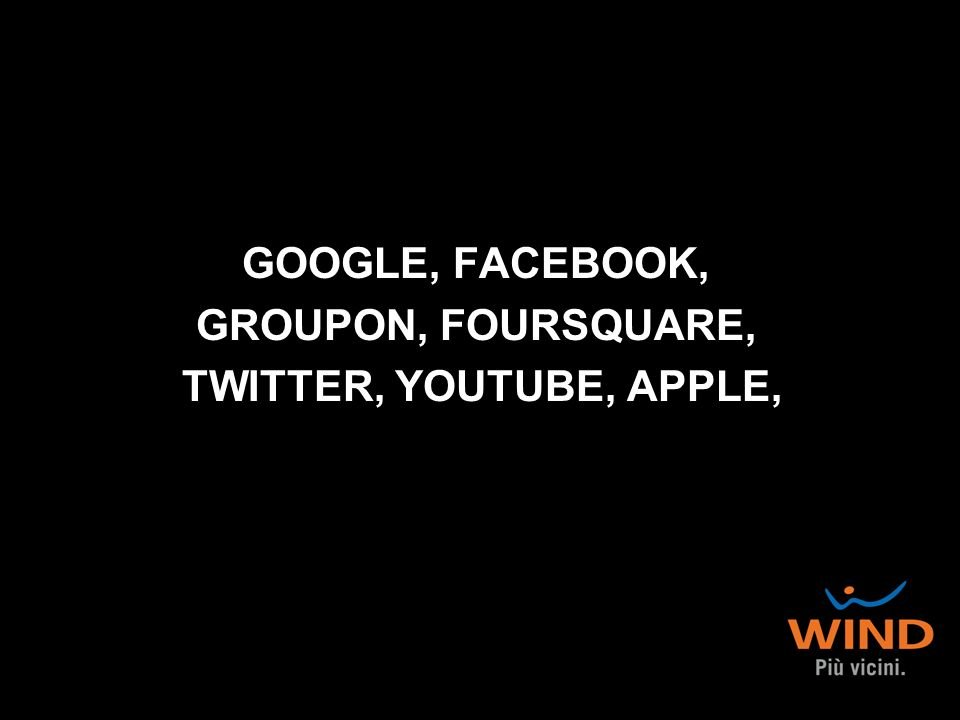 GOOGLE, FACEBOOK, GROUPON, FOURSQUARE, TWITTER, YOUTUBE, APPLE,