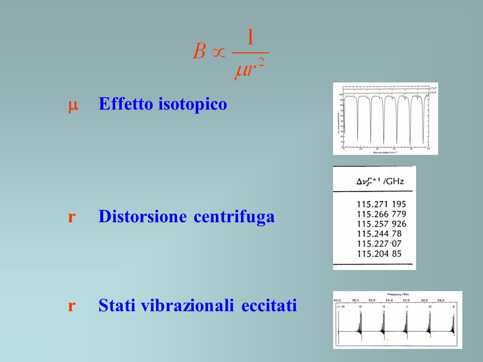  Effetto isotopico r Distorsione centrifuga r Stati vibrazionali eccitati