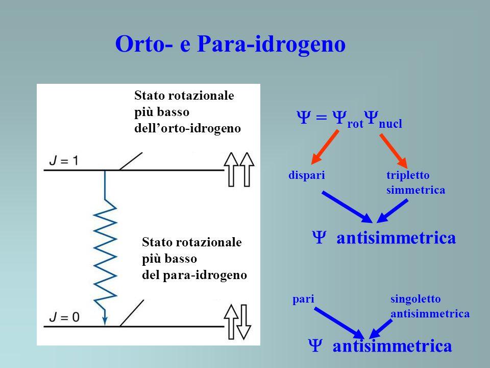Orto- e Para-idrogeno  = rotnucl  antisimmetrica  antisimmetrica